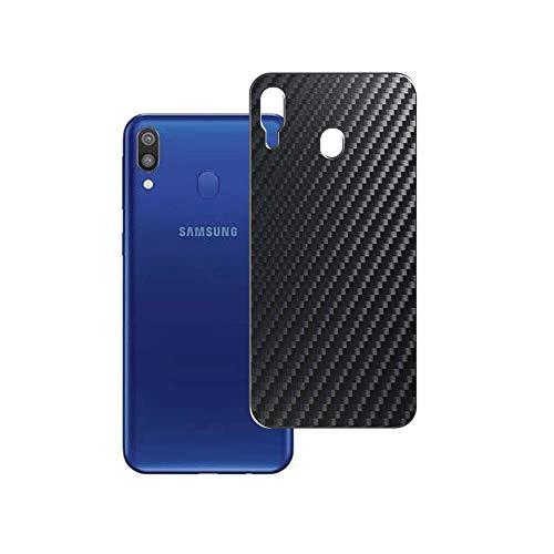Vaxson 2 Unidades Protector de pantalla Posterior, compatible con Samsung Galaxy M20, Película Protectora Espalda Skin Cover - Fibra de Carbono Negro