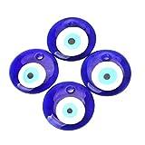 SUPVOX 4 piezas de encanto de ojo malvado, eyetalisman azul de la suerte, cuentas de mal de ojo para pulsera de cuerda trenzada de macramé que hace la decoración