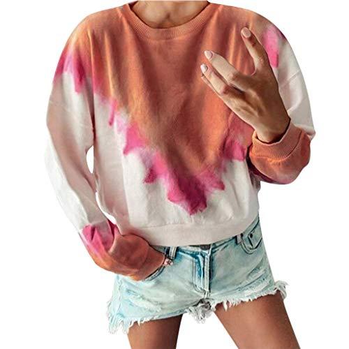 Calvinbi Pullover Damen Sweatshirt Oversize Pulli Tie Dye Shirt Langarm Shirt Rundhals Herbst Winter Tops Frauen Casual Loose Bluse Elegante Oberteile S-5XL Große Größen Mode Sexy Kurz Tshirt