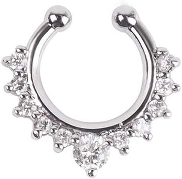 Gsdviyh36 Body Piercing Jewelry,1 Pc U-Shape Non Piercing Fake Clip On Septum Clicker Nose Ear Lip Ring Hoop Perfect a Jewelry Gift Nose Ear Lip Belly Button Decor