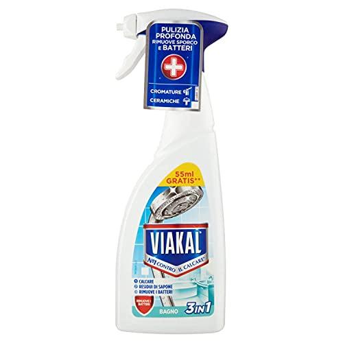 Viakal Anticalcare, Detersivo Spray per Bagno, 1 bottiglia da 500 ml, Rimuove Sporco e Batteri, Azione Totale Sul Calcare, Brillantezza Duratura, Maxi Formato