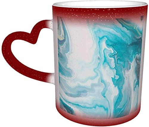 Fondo de ondas líquidas Taza mágica que cambia de color sensible al calor en el cielo Tazas de café artísticas divertidas Regalos personalizados para amantes de la familia Amigos-Rojo
