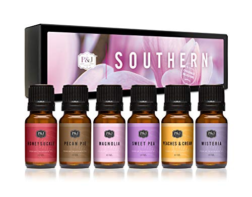 Southern Set of 6 Premium Grade Fragrance Oils - Pecan Pie, Peaches & Cream, Magnolia, Wisteria, Honeysuckle, and Sweet Pea