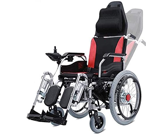 WXDP Selbstfahrend Deluxe Elektromotorisch klappbarer, Faltbarer Elektrorollstuhl, Fußpedal, Einstellung der Rückenlehnenfernbedienung, leistungsstarker Doppelmotor, geei