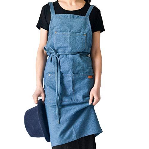 Dikke denim schort - katoenen schort voor dames met meerdere zakken en gekruiste banden, Lange schort voor keuken/schilder/tuinman,B