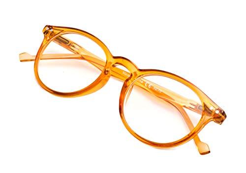 アイキーパー(Eyekepper)おしゃれ眼鏡フレーム 丸型 バネ蝶番付き 伊達メガネ 眼鏡枠 メガネフレーム プラスチック製 メンズ レディース 男女兼用 ケース&クロス付き オレンジ