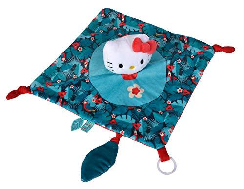 Simba 109281017 Hello Kitty Schmusetuch Tropical/mit Gummiring zur Schnuller- Befestigung und Knisterpapier / 25cm / 0Monate+