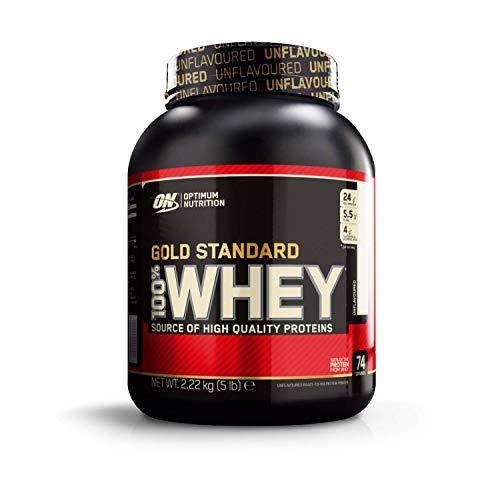Optimum Nutrition ON Gold Standard Whey Protein Pulver, Eiweißpulver zum Muskelaufbau, natürlich enthaltene BCAA und Glutamin, Unflavoured, 74 Portionen, 2,22kg, Verpackung kann Variieren