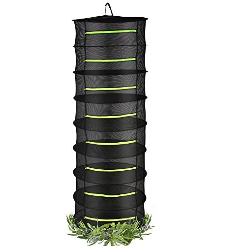 4.9ft Herbs Drying Rack for Plants 8-Layer Mesh Drying Rack in Garden with Scissor for Hydroponic Plant Herb and Bud
