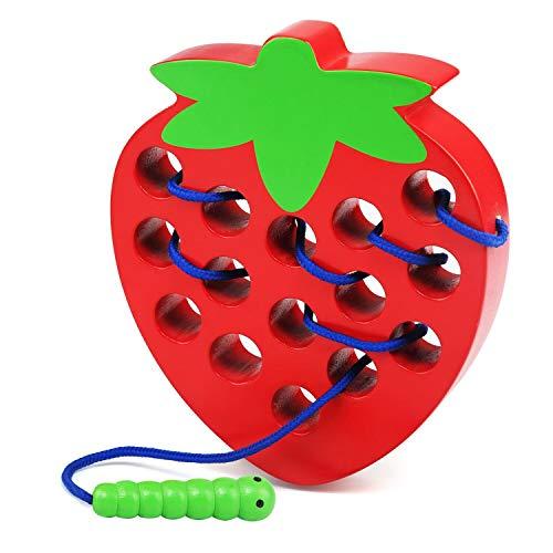 LEADSTAR Montessori Activity Wooden Fresa Toy, Madera Juguetes Educativos, Aprendizaje Temprano Bloque Rompecabezas de Bebe, Relajantes Toys de Viajepara Niños Niñas 1 2 3 Años de Edad Niños