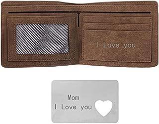 MEGAUK Personalisierte Geldbeutel mit Gravur, Vintage Herren Brieftasche mit Text/ Namen/ Logo/ Datum Gravierte Karte, zum...