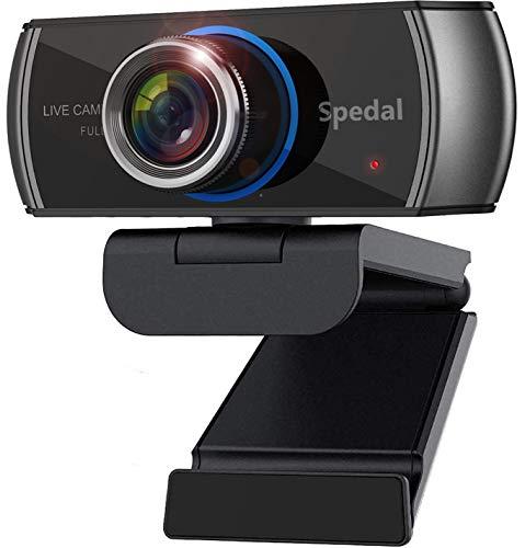 Cámara Web Full HD 1080p Webcam Live Streaming Computadora Portátil Cámara con Micrófono y para PC, Web CAM para Skype, Youtube Vídeo Radiodifusión Compatible con Windows, Mac