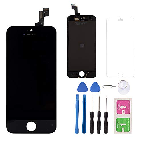 for iPhone 5S/SE LCD Touch Screen Replacement Screen, LCD Display Digitizer Touch Screen and Frame, Repair Tool Kit and Tempered Glass (Black)