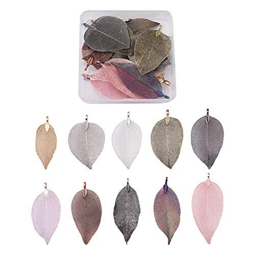 Beadthoven - 20 colgantes de hoja larga de filigrana, 10 estilos, diseño de hojas de árbol natural, estilo bohemio, con fianza de hierro para hacer collares y joyas