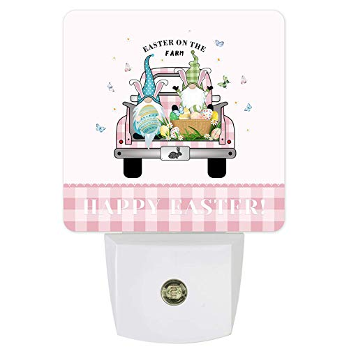 Lámpara de noche con sensor de luz LED de pared, para dormitorio, lactancia, pasillo, escaleras, decoración del hogar, diseño de búfalo rosa a cuadros