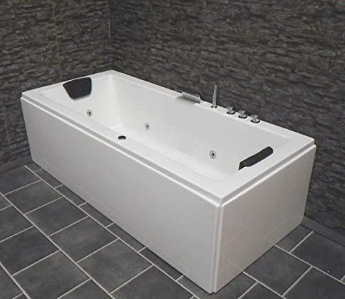 Whirlpool Badewanne Venedig MADE IN GERMANY rechts oder links 150 / 160 / 170 x 75 cm mit 6 Massage Düsen + MIT Armaturen Eckwanne Jakuzzi Spa runde rechte / linke Eckbadewanne innen günstig - 4