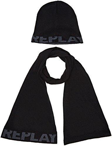 Replay Herren Strickmütze und Schal AM8007.000.A7059, Schwarz (Black 98), One size