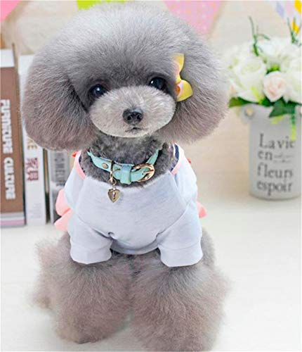 MINI SHOW Hund Seemann Marineblau Haustier Kleidung, Frühling, Sommer Und Herbst Neue Bogen Zweibeinige Kleidung Uniformrock,Pink,XL