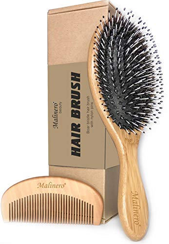 Boar Bristle Hair Brush for Men and Women - Best Eco Bamboo Brush Set - Natural Wooden Comb - Hairbrush with Detangling Nylon Pins - Mixed Boar Bristle Brush, Oval Hair Brush for Men, Women and Kids