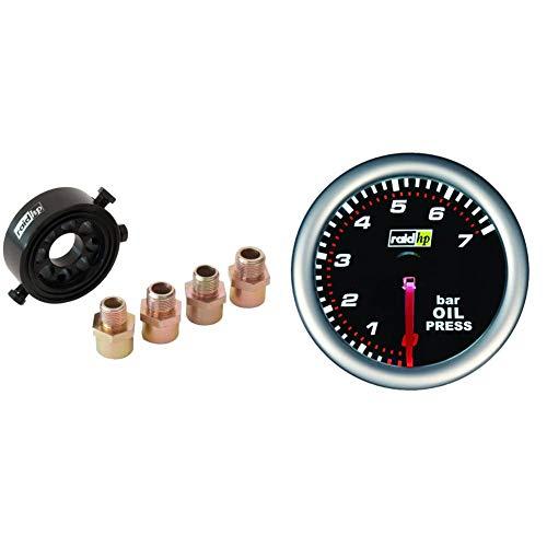 Raid HP 660448 Ölfilter Adapter Set, Öltemperatur, Öldruckgeber mit 4 Gewinden & 660241 Zusatzinstrument Öldruckanzeige Serie Night Flight