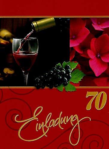 Einladungskarten 70. Geburtstag Frau Mann mit Innentext Motiv Rotwein 10 Klappkarten DIN A6 im Hochformat mit weißen Umschlägen im Set Geburtstagskarten Einladung 70 Geburtstag Mann Frau K147