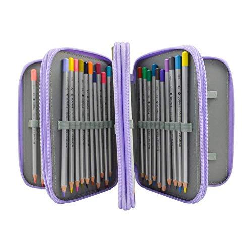 Tracker Color Pencil, 72-Slot Pencil case 4 Layer 4 Zipper Pen Bag Large Art case Multi-Layer Pencil case Storage Box Pencil case Pen Holder Fixed Pencil case Child Adult (Purple)