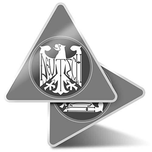 2 x Triangle Stickers 10cm - BW - German Eagle Logo Deutschland? Laptop Tablet Luggage Scrapbook #40202