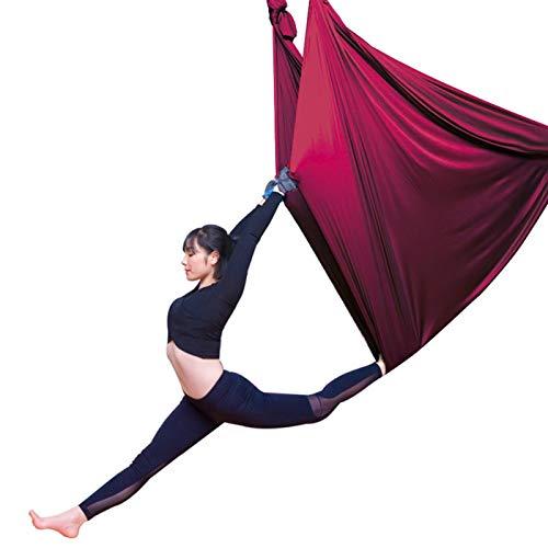 Columpio sensorial Aéreo de yoga Swing Hammock Anti-Gravedad Flying Swing Aerial Silks Sitio Pilates de yoga El conjunto incluye carabines de acero y cadena de margarita Mejora de la flexibilidad Flex