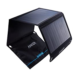 Solar Panel, Anker 21W 2-Port USB Portable Solar Charger with Foldable Panel, PowerPort Solar for iPhone 11/Xs/XS Max/XR… 1 The Anker Advantage: Join the 50 million+ powered by our leading technology Fast Charging Technology: PowerIQ delivers the charging speed up to 2.4 amps per port or 3 amps overall under direct sunlight. 21 watt SunPower solar array is 21.5-23.5% efficient, providing enough power to charge two devices simultaneously Incredibly Durable: Industrial-strength PET polymer faced solar panels sewn into a rugged polyester canvas offer weather-resistant outdoor durability