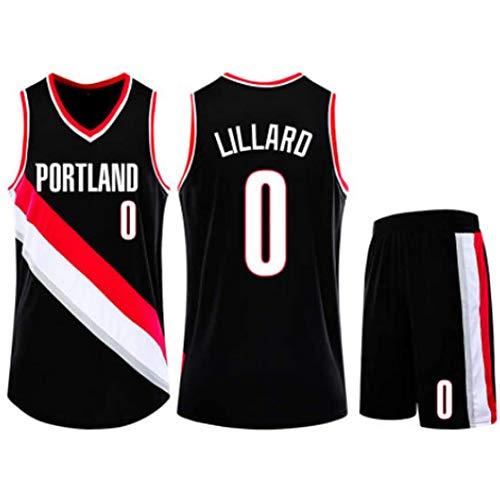QAZWSX Kinder Jungen Mädchen Männer Erwachsene Portland Trail Blazer # 0 Damian Lillard Retro Basketball Trikots Sommeranzüge Kits Top + Shorts-Black-XXXS