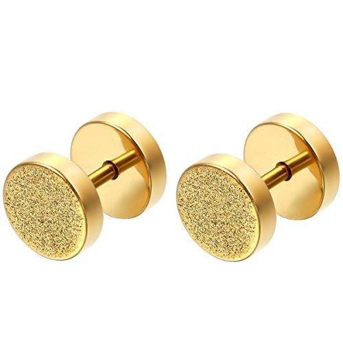 Flongo Orecchini viticci 8MM, acciaio inossidabile orecchini piccolo tondo, borchie orecchini unisex uomo donna, Oro Argento Nero