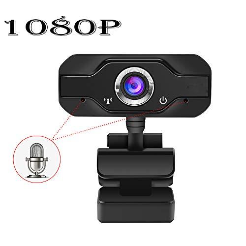 HMY 1080P HD Webcam en Teching USB del Ordenador con Pantalla Grande de la cámara con micrófono para PC, de Escritorio o portátil rotación de 360 Grados