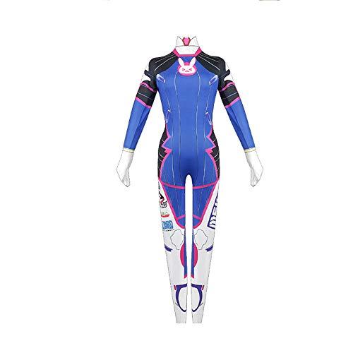 Naixin Overwatch DVA Cosplay Kostüm Hana Song Blue Jumpsuit Bodysuit Halloween Kostüm für Frauen & Kinder