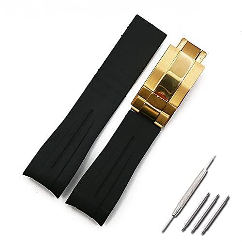 HGGFA Correa de Goma para Hombres 20mm21mm Accesorios de Reloj de Hebilla Plegable para Rolex GMT Ghost King Ancon Impermeable Silicone Strap Women Band (Band Color : Style F1, Band Width : 21mm)