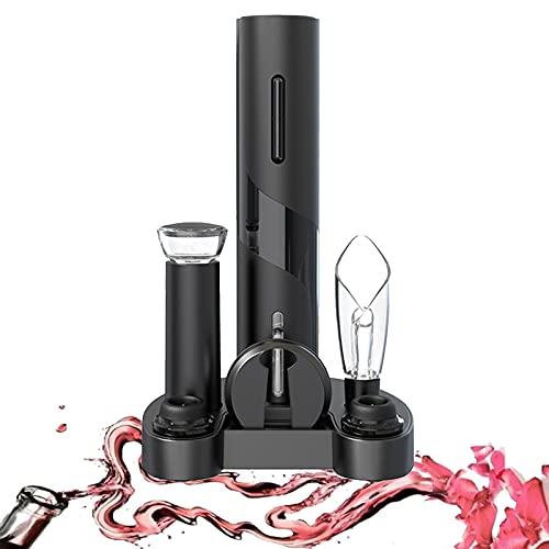 IraXpro Sacacorchos eléctrico, abridor de botellas, abrebotellas de vino, 7 en 1 eléctrico, incluye cortador de láminas, vertedor de vino, bomba de vino, tapón de vacío, base de almacenamiento
