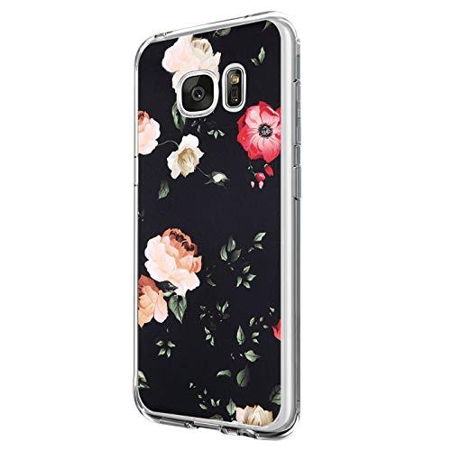 Riyeri Hülle Compatible with Samsung Galaxy S7 Edge Hülle Transparent TPU Silikon Bumper Schutzhülle Soft Handyhülle für Samsung S7 - Blume Serie (8)