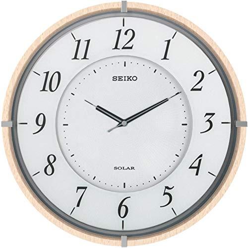 セイコークロック掛け時計SOLAR+ソーラープラス電波アナログ薄型木枠薄茶木地SF501BSEIKO