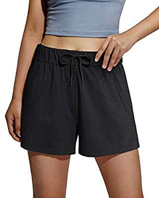 Promover Women's Athletic Shorts Stretchy Hiking Workout Activewear(Black,XL)