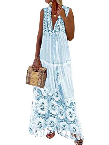 Minetom Mujer Vestido Casual Verano Sin Mangas Encaje Vestidos Elegante V Cuello Playa Fiesta Maxi Dress A Azul 38