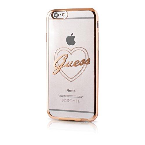Guess Heart Cover Custodia Morbida per iPhone 6 e 6S con Rifiniture Oro, Cuore e Scritta, Trasparente