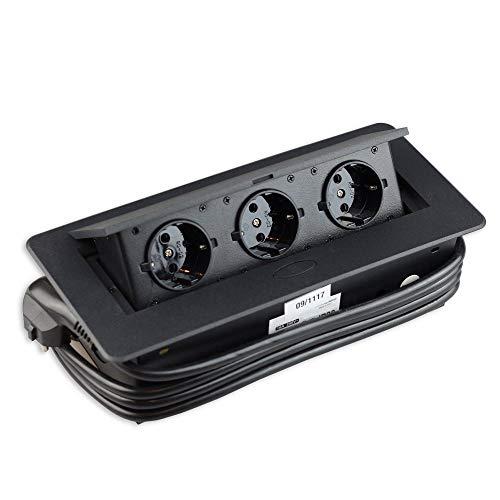 Toma de corriente retráctil de color negro para cocina y oficina con apertura suave, cable de 1,8 m – Ideal para encimeras, como enchufe de mesa, enchufe de suelo – Aluminio inyectado tres