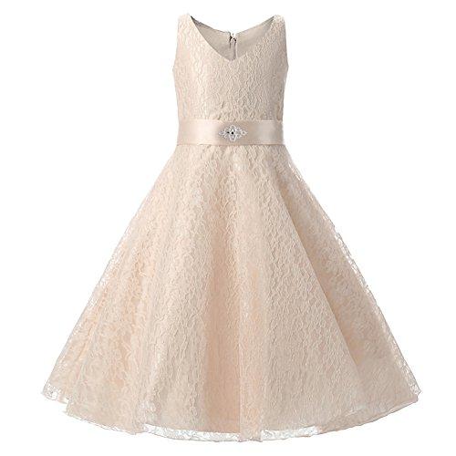 LSERVER-Abito elegante con scollo a V, stampa floreale in pizzo , bambina principessa vestito, ideale per feste di compleanno