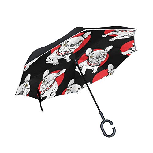 MRMIAN French Bulldog with Red Polka Dot Animal Windproof Inverted Open Close Reverse Rain Umbrella Inside Out Quality Waterproof Parasol Upside Down Stick Shelter with Hook c Handle