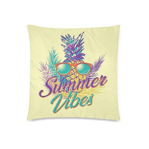 GOSMAO Gafas de piña con Letras Summer Vibes Decor Throw Cojín Funda de Almohada, Protector de Funda de Almohada 18x18 Pulgadas