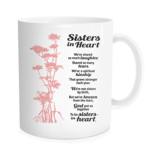 Hasdon-hill Funny Coffee Mug Sisters In Heart With Inspiring Quotes, Sisters In Heart We've Shared So Much Laughter, Best Gifts Coffee Cup For Birthday Friends Bff 11 Oz Bone China White