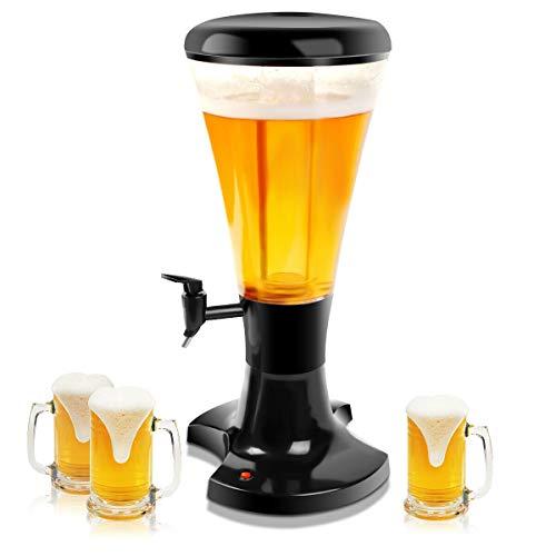 COSTWAY Torre per Birra, Distributore di Birra, Spillatore per Birra con Luci LED Colorate, 3 L
