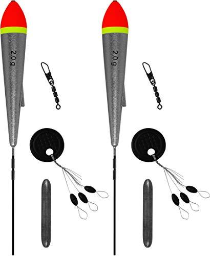 Storfisk fishing & more 2er oder 4er Set Schlepp-Pose inkl. Schnurstopper und Carbon-Stab, Tragkraft Posen:Set