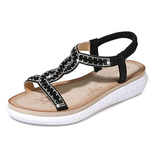 New Eimvano Ladies Flip-Flops Bohemian Elastic Strappy Thong Ankle Strap Sandals for Women