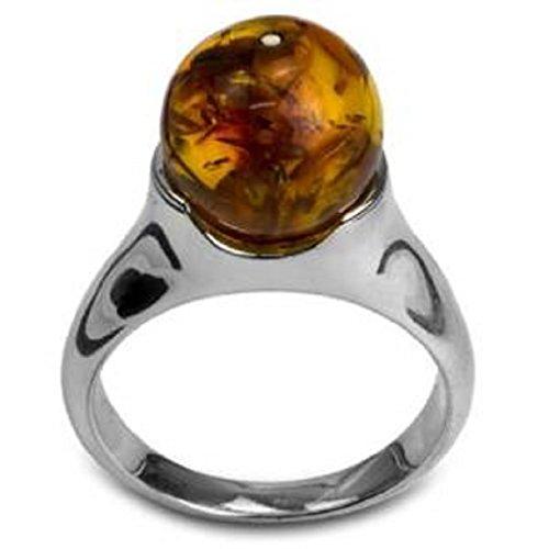Bernstein Sterling Silber Ball Ring Größe 64.5 (20.6)