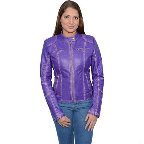 Milwaukee Leather Damen Lammfell Scuba Style Moto Jacke (lila, mittel)